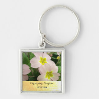 Light Pink Primrose Flowers Custom Wedding Key Ring