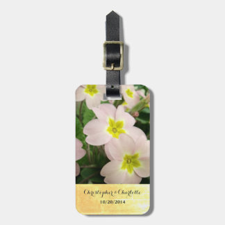 Light Pink Primrose Flowers Custom Wedding Luggage Tag