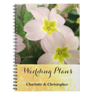 Light Pink Primrose Flowers Custom Wedding Notebook
