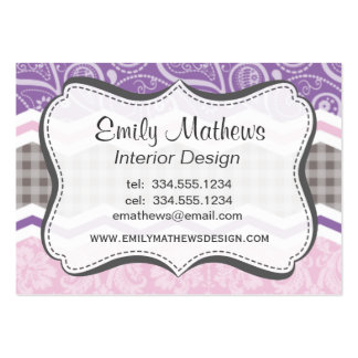 Light Pink, Purple, & Taupe Country Patterns Business Card Template
