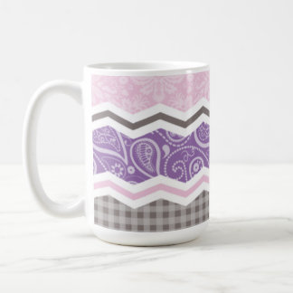 Light Pink, Purple, & Taupe Country Patterns Coffee Mug