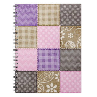 Light Pink, Purple, & Taupe Quilted Look Spiral Notebooks