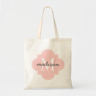 Light Pink Quatrefoil Custom Monogram Tote Bag