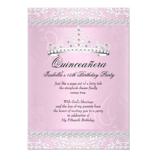 Light Pink Quinceanera 15th Birthday Party Tiara 13 Cm X 18 Cm Invitation Card