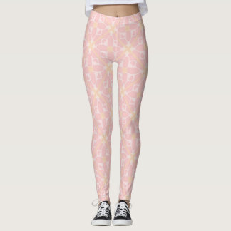 Light pink retro floral leggings