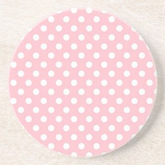 Light Pink Retro Polka Dots Pattern Coaster
