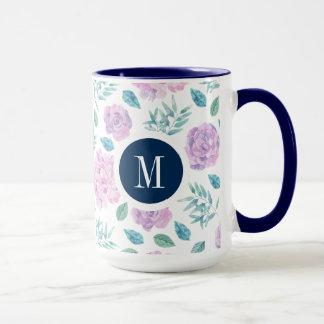 Light Pink Roses & Green Leafs Pattern Mug