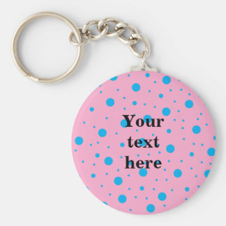 Light pink sky blue tiny and big polka dots basic round button key ring