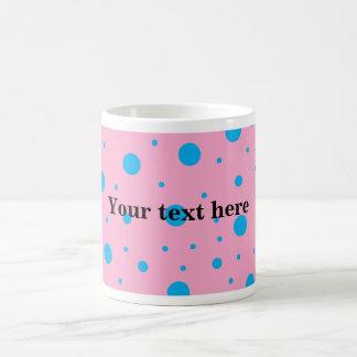 Light pink sky blue tiny and big polka dots coffee mug