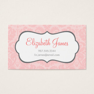 Light Pink Vintage Damask Business Card