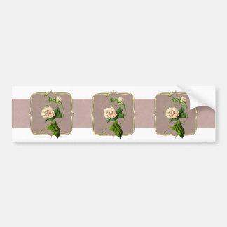 Light Pink Vintage Flowers Wide Bumper Sticker