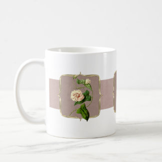 Light Pink Vintage Flowers Wide Coffee Mug