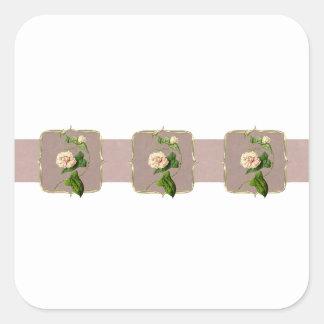 Light Pink Vintage Flowers Wide Square Sticker