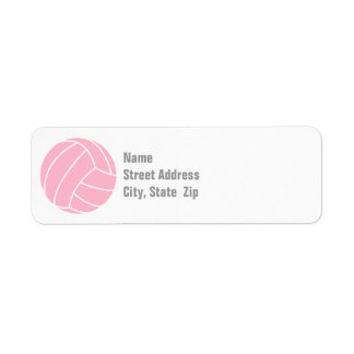 Light Pink Volleyball Return Address Label