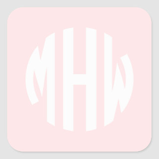 Light Pink White 3 Initials in a Circle Monogram Square Sticker