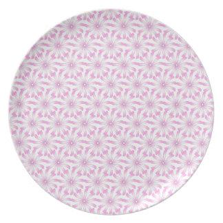 Light Pink White Flower Pattern Plates