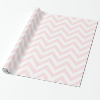 Light Pink White XL Chevron ZigZag Pattern Wrapping Paper