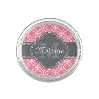 Light Pink Wht Moroccan Pattern Dark Gray Monogram