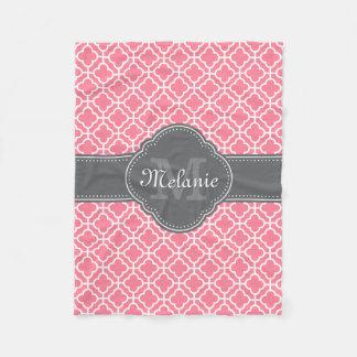 Light Pink Wht Moroccan Pattern Dark Gray Monogram Fleece Blanket