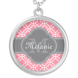 Light Pink Wht Moroccan Pattern Dark Gray Monogram Silver Plated Necklace