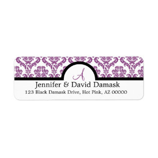 Light Plum Damask Wedding Monogram Address Labels