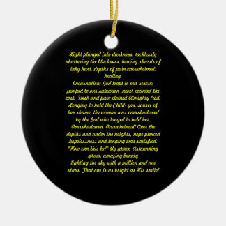 Light plunged into darkness, Poem Double-Sided Ceramic Round Christmas Ornament