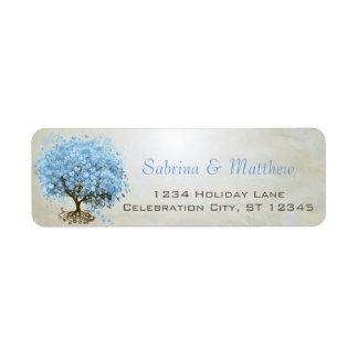 Light Powder Blue Heart Leaf Tree Return Address Return Address Label