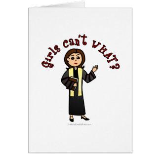 Light Preacher Girl Greeting Cards