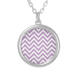 Light Purple and White Zigzag Pattern Round Pendant Necklace