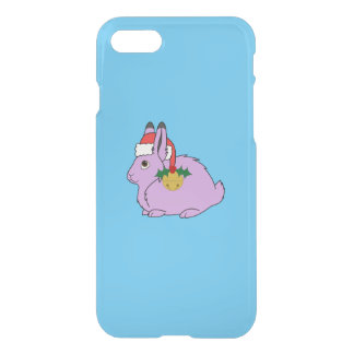 Light Purple Arctic Hare - Santa Hat & Gold Bell iPhone 7 Case