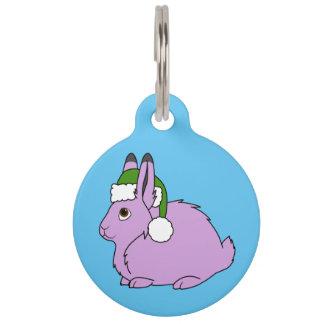 Light Purple Arctic Hare with Green Santa Hat Pet Nametags