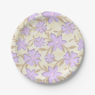 Light Purple Blossoms Flowers Yellow Spring Floral Paper Plate