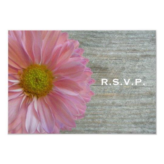 Light Purple Daisy & Barnwood Wedding R.S.V.P. Card