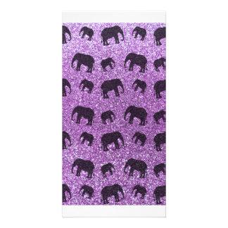 Light purple elephant glitter pattern photo cards