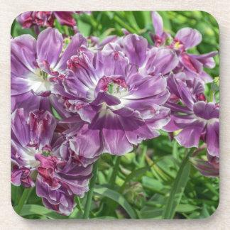 Light purple flowers hard plastic coasters
