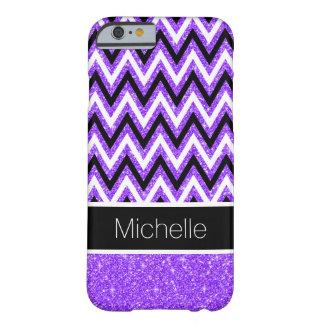 Light Purple Glitter Black Chevron iPhone 6 Case