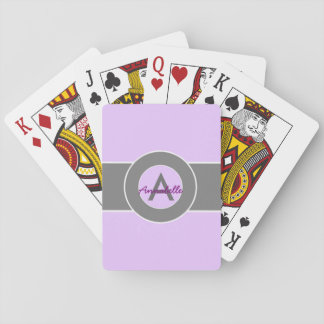 Light Purple Gray Monogram Personalized Poker Deck