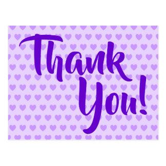 Light Purple Hearts Thank You Postcard