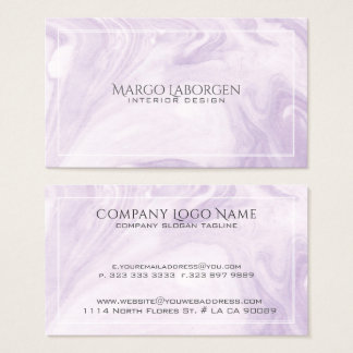Light Purple Marble Swirls Paper Texture Business Card