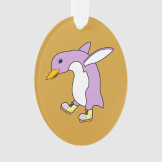 Light Purple Penguin with Yellow Ice Skates