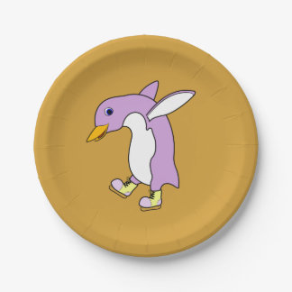 Light Purple Penguin with Yellow Ice Skates 7 Inch Paper Plate