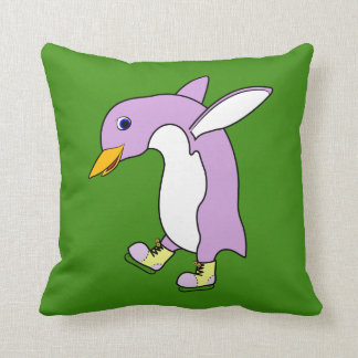 Light Purple Penguin with Yellow Ice Skates Cushions
