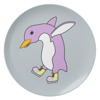 Light Purple Penguin with Yellow Ice Skates Party Plates
