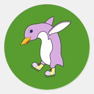 Light Purple Penguin with Yellow Ice Skates Round Sticker