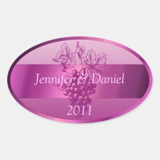 Light Purple Personalized Custom Wine Labels Oval Sticker