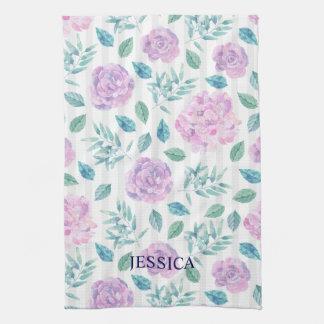 Light Purple & Pink Flowers Pattern Towel
