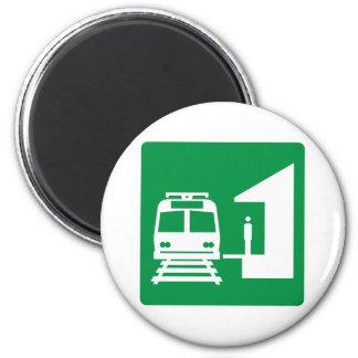 Light Rail Station Highway Sign Fridge Magnets