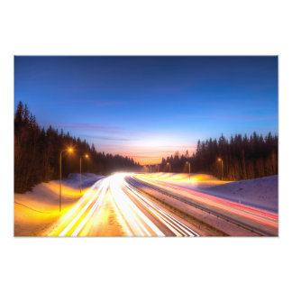 Light rays of cars on a highway photo