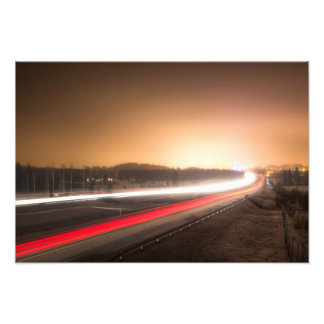 Light rays of cars on a highway photo art