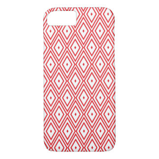 Light Red and White Diamond Pattern iPhone 7 Case